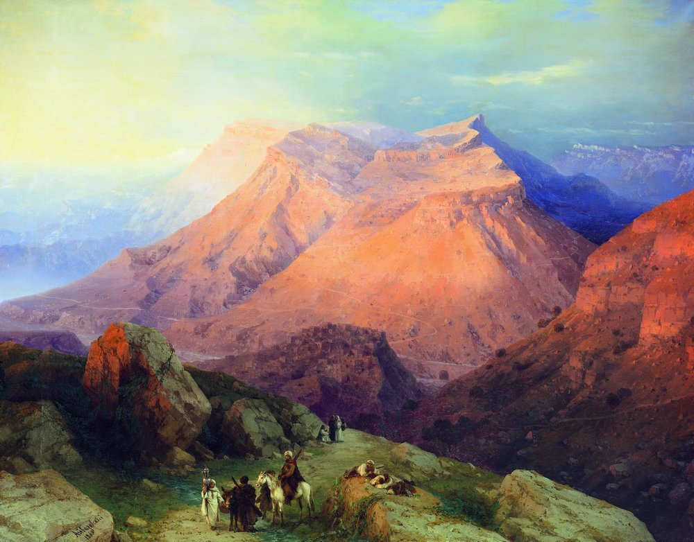 аул гуниб в дагестане. вид с восточной стороны. 1869
