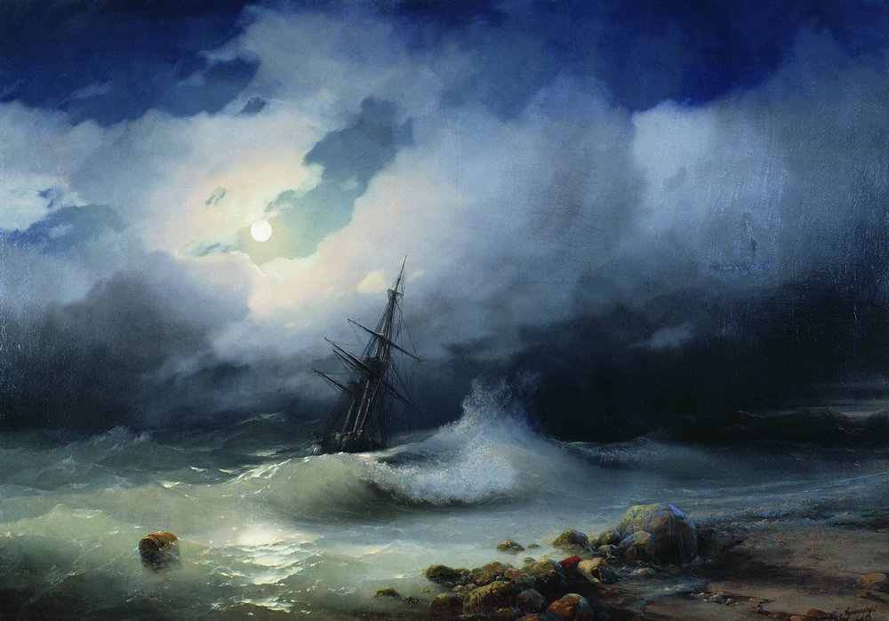 бурное море ночью 1853