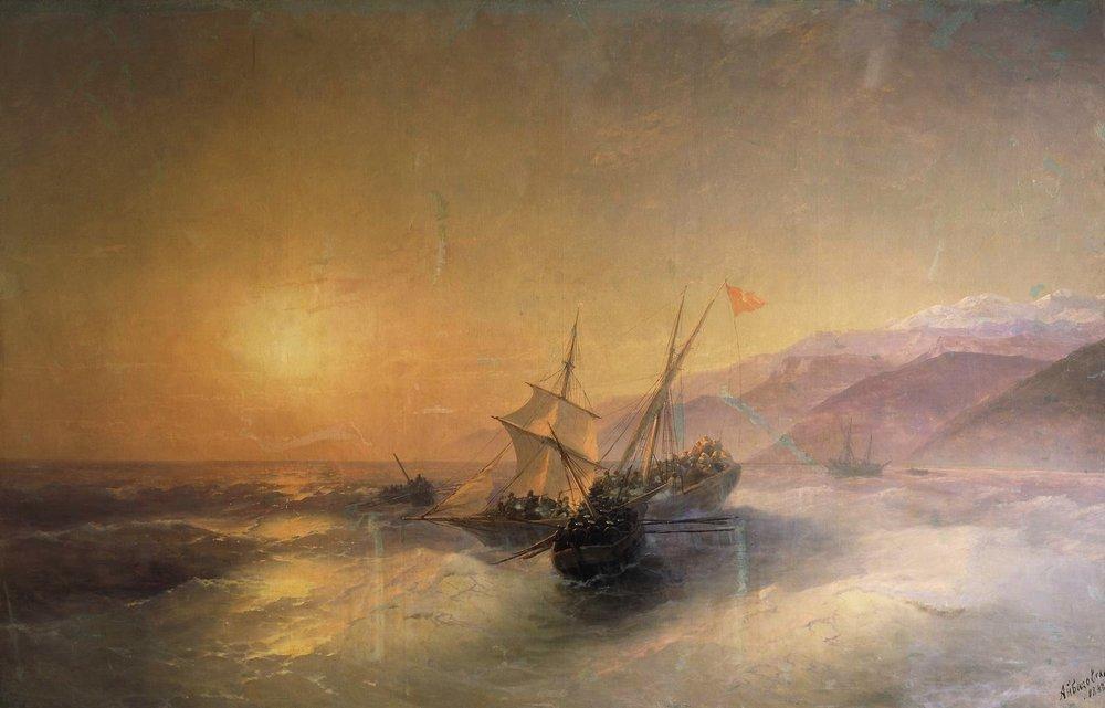 взятие русскими матросами турецкой лодки и освобождение пленных кавказских женщин 1880