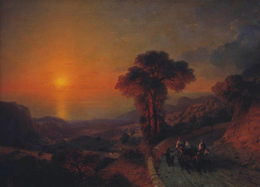 вид моря с гор. крым 1864