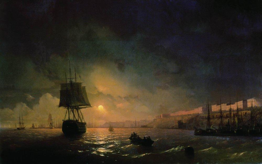 вид одессы в лунную ночь 1846