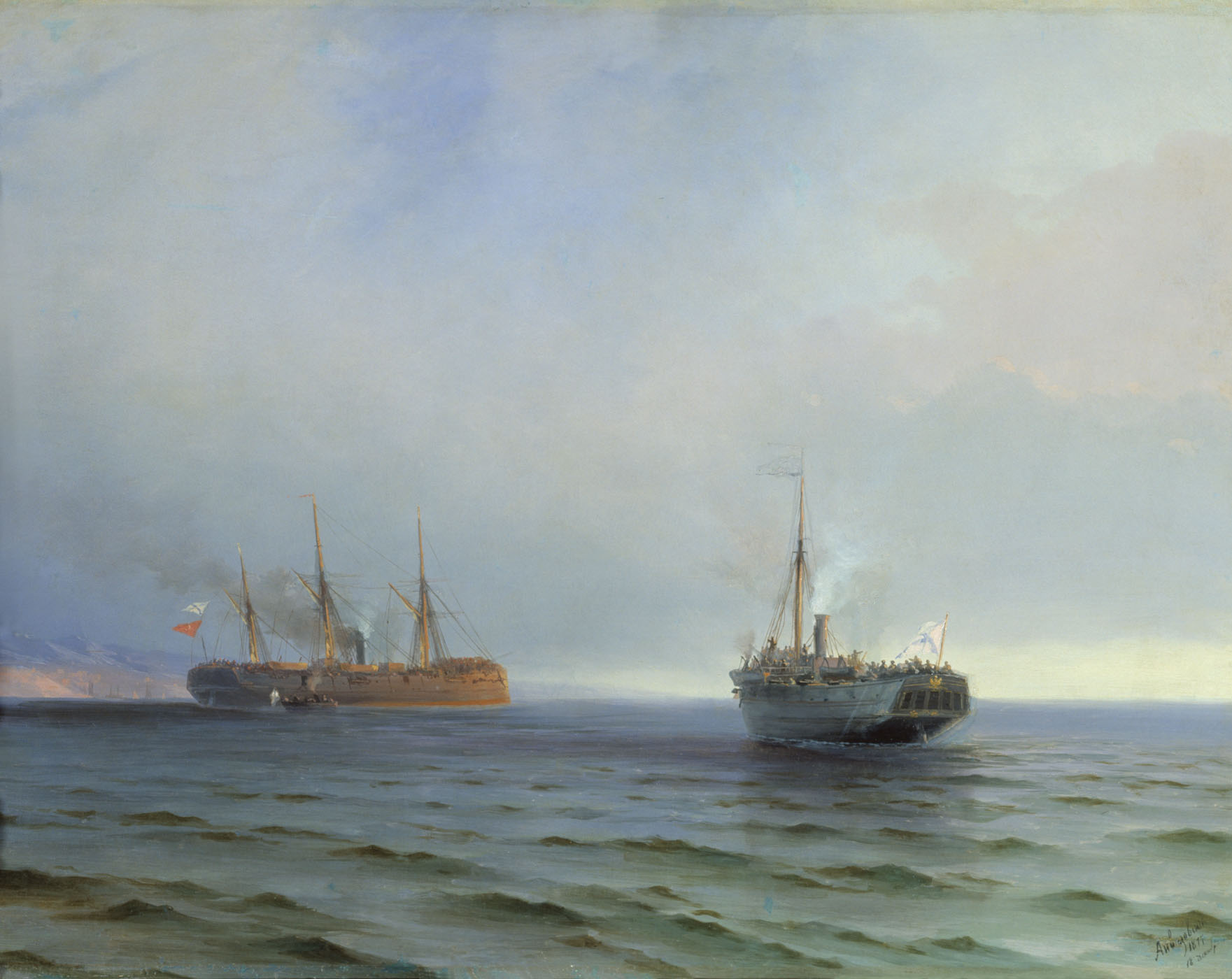 захват пароходом Россия турецкого военного транспорта Мессина на черном море 13 декабря 1877