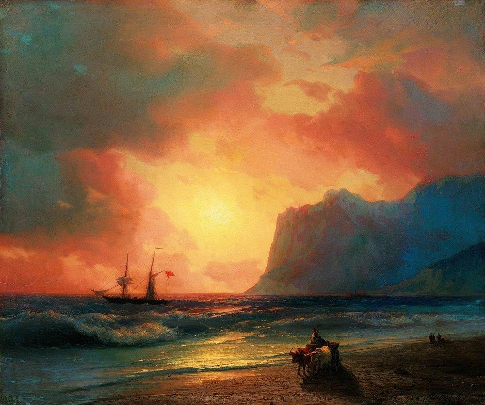 заход солнца на море 1866