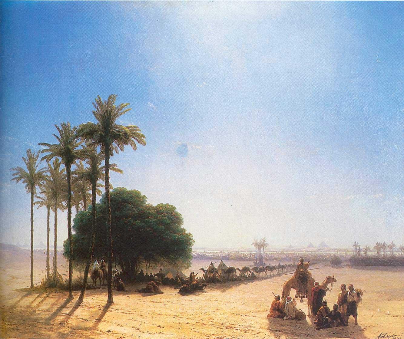караван в оазисе. египет 1871