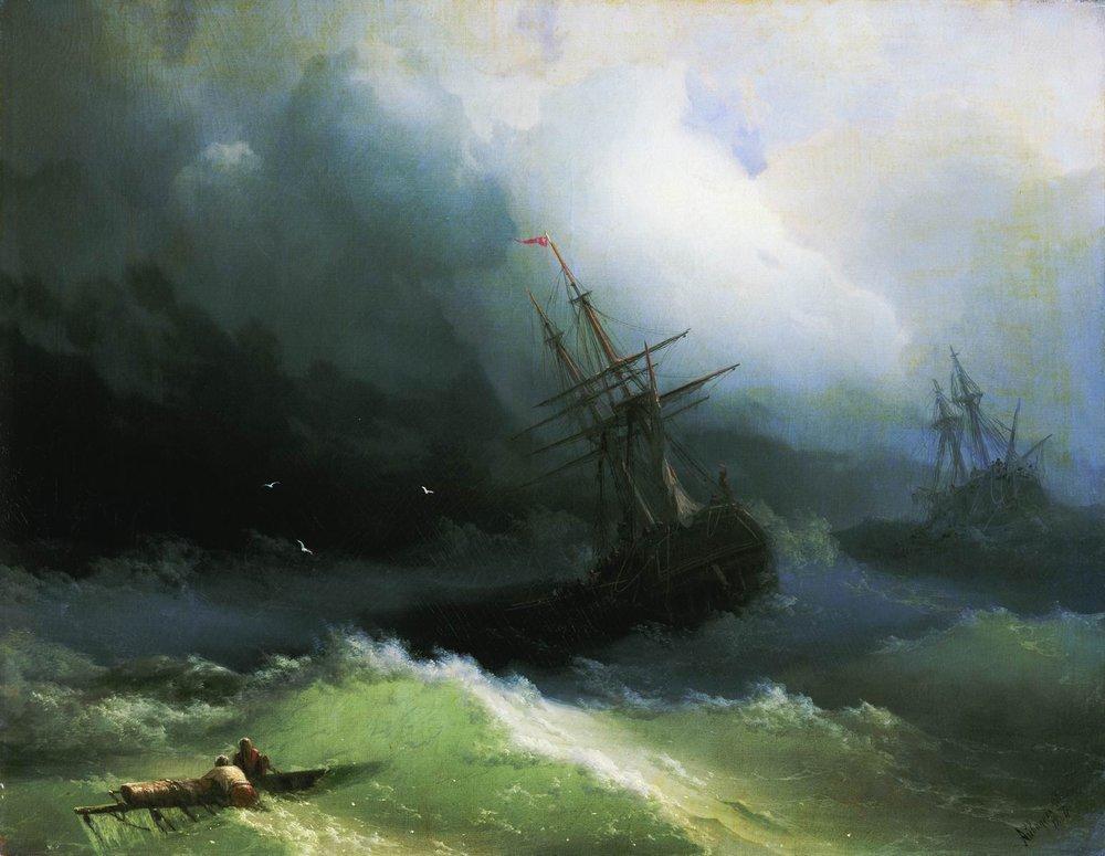 корабли на бушующем море 1866