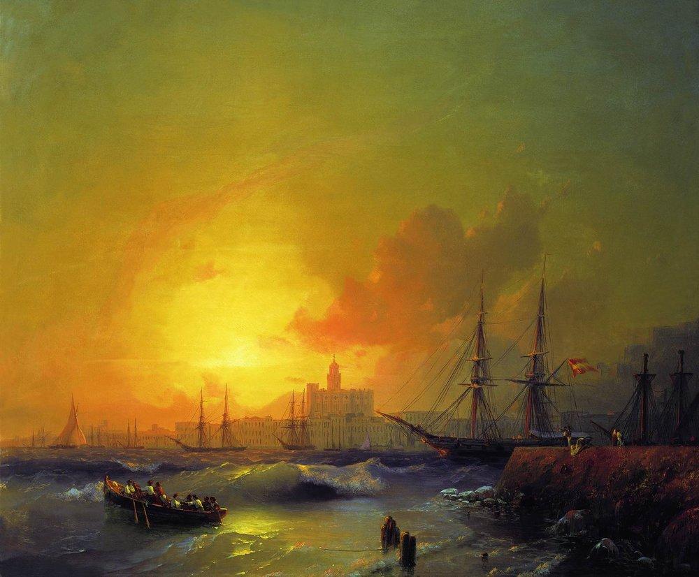 малага. морской пейзаж 1854