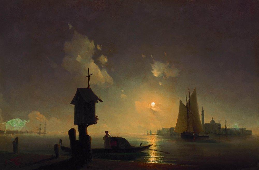 морсокй вид с часовней на берегу 1845