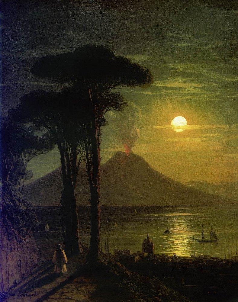 неаполитанский залив в лунную ночь. везувий 1840