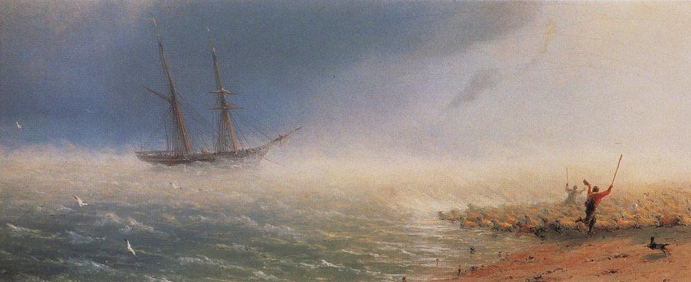 овцы загоняемые бурею в море 1855