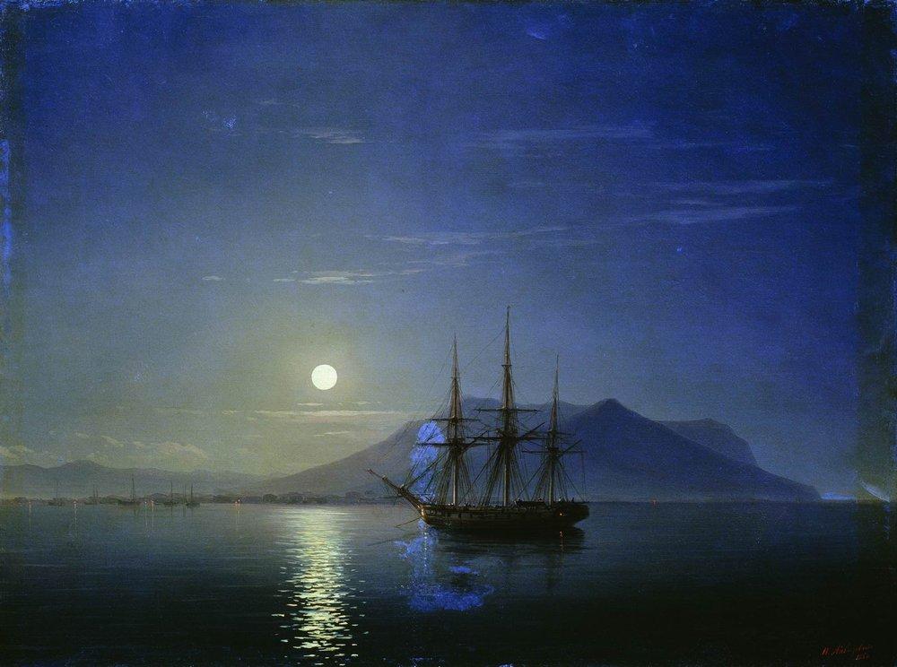 парусник у берегов крыма в лунную ночь 1858