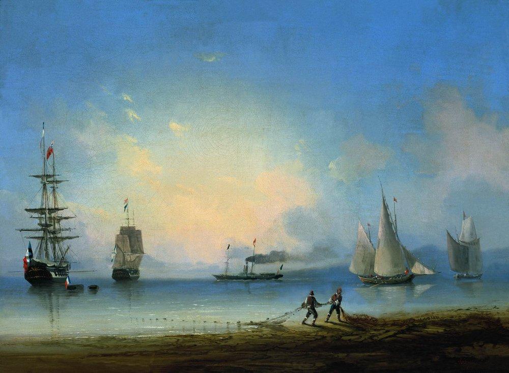 русский и французские фрегаты 1858